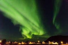 Lumières du nord dans Myre en Norvège Photo libre de droits