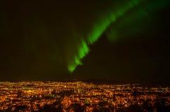 Lumières du nord de Trondheim Photographie stock libre de droits