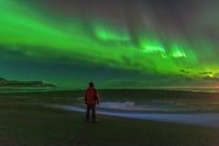 Lumières du nord lumineuses incroyables Photographie stock libre de droits