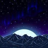 Lumières du nord, montagnes et la lune sur le fond o photos libres de droits