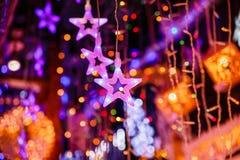 Lumières et étoile de Christmast Image libre de droits