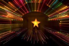 Lumières et décoration de Noël Photo stock