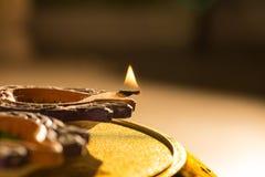 Lumières et diyas de Diwali Photographie stock