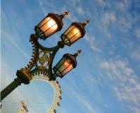 Lumières et l'oeil de Londres Photographie stock