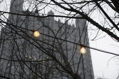 Lumières et le château en verre Photographie stock