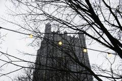 Lumières et le château en verre Photos libres de droits