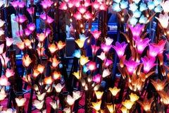 Lumières faites main colorées de fleur de coton photographie stock