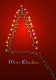 Lumières formées de guirlande d'arbre de Noël Images libres de droits