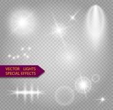 Lumières, fusée, explosion et étoiles rougeoyantes Photographie stock libre de droits