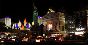 Lumières lumineuses de Las Vegas, nanovolt Photos libres de droits