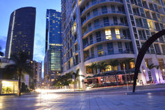 Lumières lumineuses du centre de Miami Images libres de droits