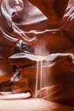 Lumières magiques en canyon supérieur d'antilope Page, az Photographie stock libre de droits