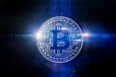 Lumières numériques de Bitcoin composant Photos stock