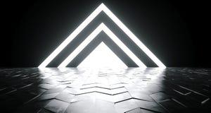Lumières rougeoyantes blanches formées par triangle futuriste de la science fiction sur Reflec illustration de vecteur