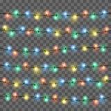 Lumières rougeoyantes pour le design de carte de salutation de vacances de Noël Les lumières de Noël ont isolé les éléments réali illustration de vecteur