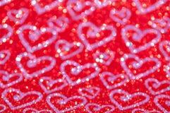 Lumières rouges abstraites Defocused avec le fond de coeur photos libres de droits