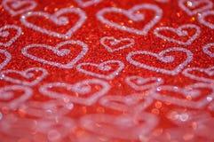Lumières rouges abstraites Defocused avec le fond de coeur Photo libre de droits