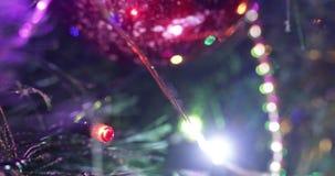 Lumières sur l'arbre de Noël banque de vidéos