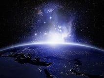 Lumières sur terre illustration de vecteur