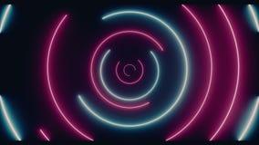 Lumières tournantes rougeoyantes au néon en spirale de rétro Sci fi cercle bleu pourpre futuriste fluorescent de laser de Loop illustration stock
