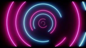 Lumières tournantes rougeoyantes au néon en spirale de rétro Sci fi cercle bleu pourpre futuriste fluorescent de laser de Loop illustration libre de droits