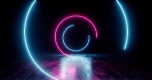 Lumières tournantes rougeoyantes au néon en spirale de rétro de Sci fi de pourpre cercle bleu futuriste fluorescent de laser s illustration de vecteur