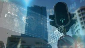 Lumi?re de circulation urbaine banque de vidéos