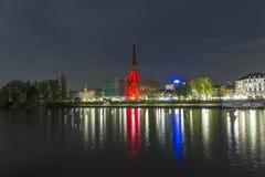 Luminale 2014 - bâtiments lumineux et horizon la nuit à Francfort Photo libre de droits