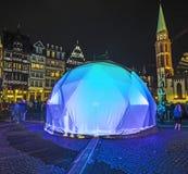Luminale 2014 - Illuminated buildings at the Roemer in Frankfurt Royalty Free Stock Photo
