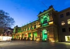 Luminale 2014 - illuminated stock exchange at night in Frankfurt Royalty Free Stock Image