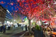Luminale 2014 - upplysta byggnader på natten i Frankfurt Fotografering för Bildbyråer