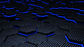 Luminance blue carbon futuristic hexagons 3d illustration background
