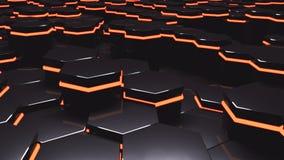 Luminance sześciokątów 3d ilustraci futurystyczny tło Obrazy Stock