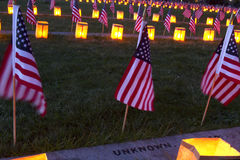 Luminary for the Unknown at Gettysburg. Gettysburg, PA, USA - November 15, 2014 : 12th Annual Luminary Ceremony at Soldiers Cemetery Royalty Free Stock Photos
