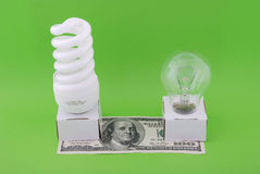 Luminescent and electric lamp Stock Photos