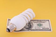 Luminescent lamp on hundred dollars Stock Photography