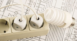 Luminescent lamp socket and plug Royalty Free Stock Photography