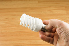 Luminescent light bulb in his hand Stock Image