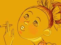 Lumineux jaune de femme Photographie stock libre de droits