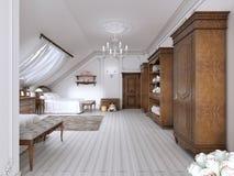 Lumineux, le classique badine la pièce avec les meubles bruns illustration libre de droits