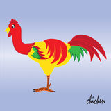 Lumineux mignon et coloré formé par poulet Photos stock