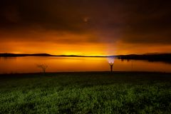 Luminic pollution from Vitoria at night Royalty Free Stock Image