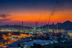 Luminosity of oil refinery plant. Royalty Free Stock Photography