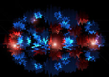 Luminoso gonfiandosi gli zigzag rossi e blu con luce rossa stanno andando nella forma ovale Fotografia Stock Libera da Diritti