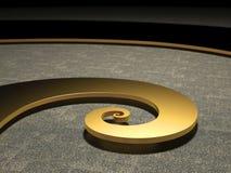Luminoso a spirale dorato di Fibonacci illuminato Immagini Stock