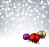 Luminous background with Christmas balls. Luminous background with colorful Christmas balls and snow. Vector illustration Royalty Free Stock Photography
