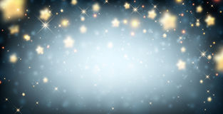 Luminous background with stars. Blue luminous background with stars. Vector paper illustration Royalty Free Stock Photo