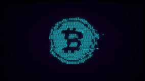 Luminous bitcoin icon with glitch effect. E-currency symbol, crypto currency stock illustration