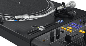 Luminous buttons dj turntable, zoomed view. Luminous buttons dj turntable professional equipment, zoomed view. 3D graphic Royalty Free Stock Photo