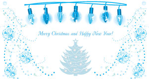 Luminous Christmas garland. Background for greeting card. Illustration Royalty Free Stock Images